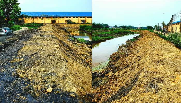 Basti News: प्लास्टिक कांप्लेक्स में अब नहीं होगा जलभराव, तालाब के चारों ओर बना बांध